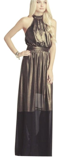 Item - Black Gold Halter Maxi Long Night Out Dress Size 6 (S)