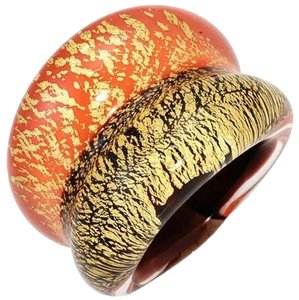 Murano NEW MURANO GLASS 24k Gold Tri-Tone Ring Size 5