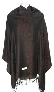 Cashmere wool & silk paisley w/ floral maroon scarf, #1632