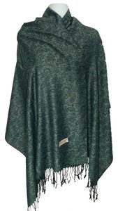 Other Cashmere wool & silk paisley w/ floral gray scarf, #1634