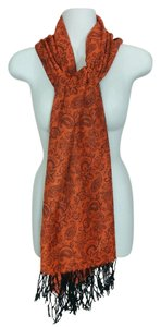Other Cashmere wool & silk paisley w/ floral orange scarf, #1635