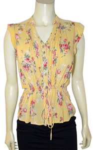 Only Mine Size Small Floral Sleeveless P1883 Button Down Shirt yellow, pink, green