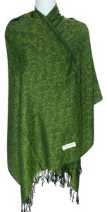 Cashmere wool & silk paisley w/ floral green scarf, #1640