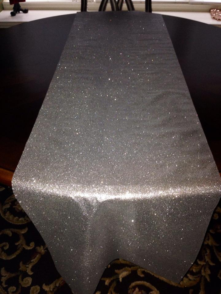 Silver Glitter Table Runner Reception Decoration
