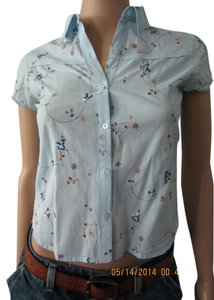 Juicy Couture/Kid Couture XL Flirty Tomboy Floral Sy Button Down Shirt Baby Blue/Flowery Multicolored