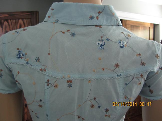 Juicy Couture/Kid Couture XL Flirty Tomboy Floral Cutesy Button Down Shirt Baby Blue/Flowery Multicolored