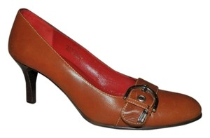 Coach Leather Buckle Accent Brown Pumps