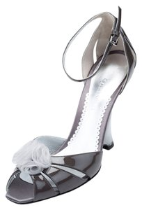 Giorgio Armani Patent Leather Genuine Office Evening Elegant High-end Fashion Open-toe Ankle Strap Bow Lether Lining Silver Grey Pumps