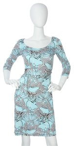 Prada Floral Silk Silk Blue Pr.ej0429.06 Dress