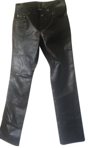 Express Straight Pants Black Leather
