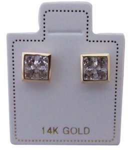 Other 14K Solid Yellow Gold Invisible CZ Princess Cut Stud Earring