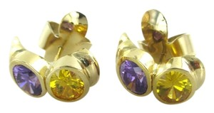 Other 18KT YELLOW GOLD EARRINGS SEMI PRECIOUS STONES AMETHYST FINE JEWELRY NO SCRAP