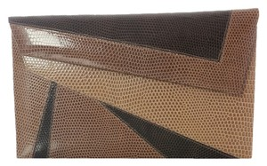 Oscar de la Renta Lizard Brown Exotic Or.h1117.15 Clutch