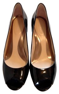 Calvin Klein Party Wedding Patent Leather Peep Toe Black Pumps