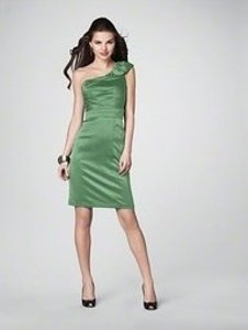 Alfred Angelo Green Satin 7201 Traditional Bridesmaid/Mob Dress Size 12 (L)