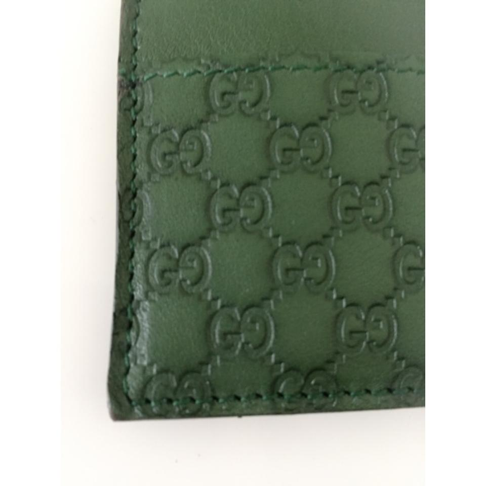f55f8dec311c Gucci Gucci Money Clip Card Case Wallet Green Leather Microguccissima  308915 Image 10. 1234567891011