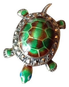 Alice Caviness Vintage Alice Caviness Turtle Enamel Sterling Silver Pin