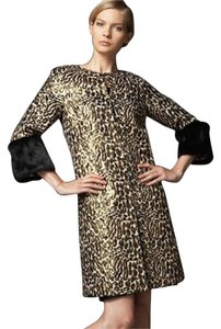 Tory Burch New New Cheetah Animal Fur Metallic Jacquard Lightweight Jacket 8 M Rabbit Black Gold Lisbet 10 Silk Trench Coat
