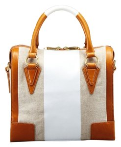 Pour La Victoire Leather Canvas Patent Leather Satchel in Tan/White