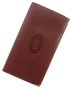 Cartier CARTIER Long Wallet Leather Checkbook holder Card Clutch TRAVEL DOCUMENTS Business
