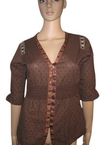 Fossil Buttin Up 3/4 Sleeve Unique And Special Design Button Down Shirt Brown/Mix