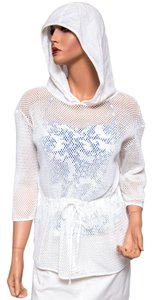 Saks 5th Avenue Crochet Hooded Cover-up