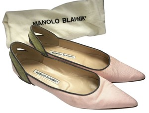 Manolo Blahnik Canvas Pointed Toe Pink Flats