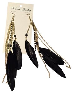 Instaglam Feather Dangle Bead/Rhinestone Earrings