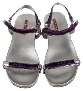 Prada Velvet Silver, purple Sandals