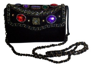 Label Inside Magid (magid) Black with Green/Purple/Blue/Red/Stones Clutch