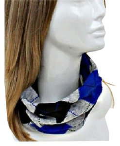 Other Multicolor Blue Argyle Print Stretchable Dual Scarf and Head Band