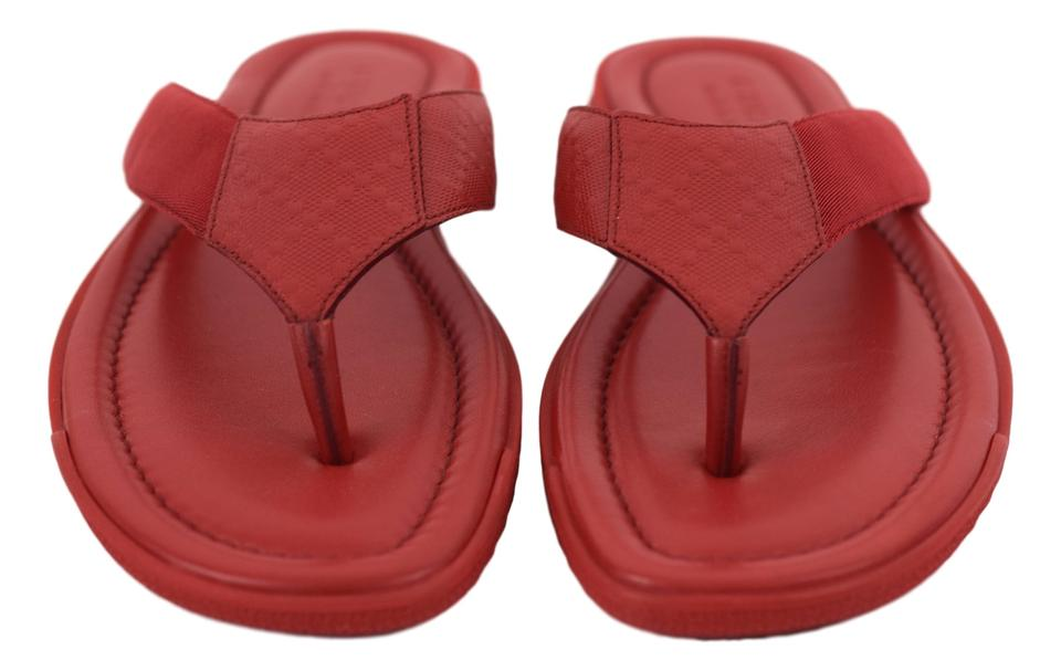 aea9698b79f8 Gucci Red Men s Beach Flip Flop Thong Leather - Sandals Size US 8.5 Regular  (M