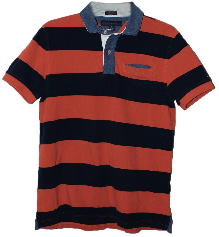 Tommy hilfiger pale red dark blue rn 77806 tee shirt for Tommy hilfiger shirt size chart