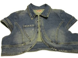 Nikibiki Shrug Denim Embellished DENIM BLUE Womens Jean Jacket