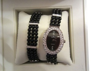 Croton Croton Black Agate and Swarovski Crystal Watch and Bracelet Set with Storage Box
