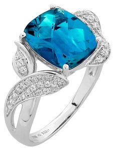 Classic Swiss-Blue Topaz Diamond Ring