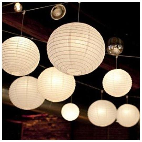 "White - 24 Pieces 3 Sizes 6"" 8"" 12"" Chinese Round Sky Paper Lanterns Lamp Birthday Party Indoor Decor Other"