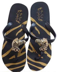 Miss Trish Of Capri Black and Gold Sandals