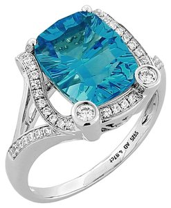 Diamond Swiss-Blue Topaz Cushion cut Gold Ring