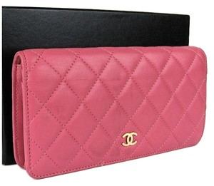 Chanel Chanel Pink Quilted Lambskin CC Flap 2.55 Wallet.