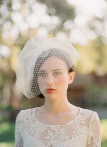 BHLDN Ivory Birdcage Twigs and Honey Double Layer Full Bridal Veil