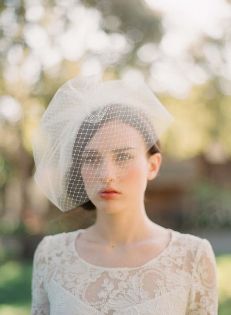 Item - Ivory Birdcage Twigs and Honey Double Layer Full Bridal Veil
