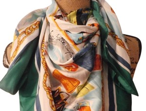 ROBY FOULARDS NEW NO TAGS ROBY FOULARDS 100% SILK MULTICOLOR SCARF 35X35 INCHES ITALY