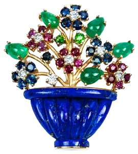 Multi-Gem Floral Basket Gold Pin Brooch
