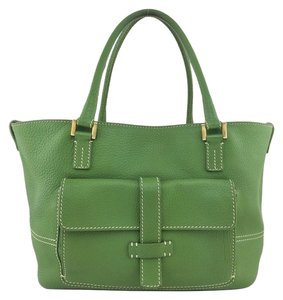Loro Piana Gold Hardware Leather Tote in Green