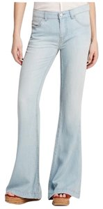 Free People Vintage Look Light-washed Flare Leg Jeans-Light Wash