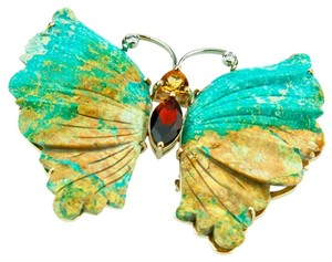 Sensational Mottled Turquoise Butterfly Gold Brooch Pin Pendant