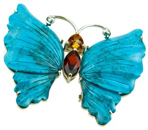 Turquoise Butterfly Gold Brooch Pin Pendant