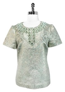 Tory Burch Top Mint/Metallic Gold