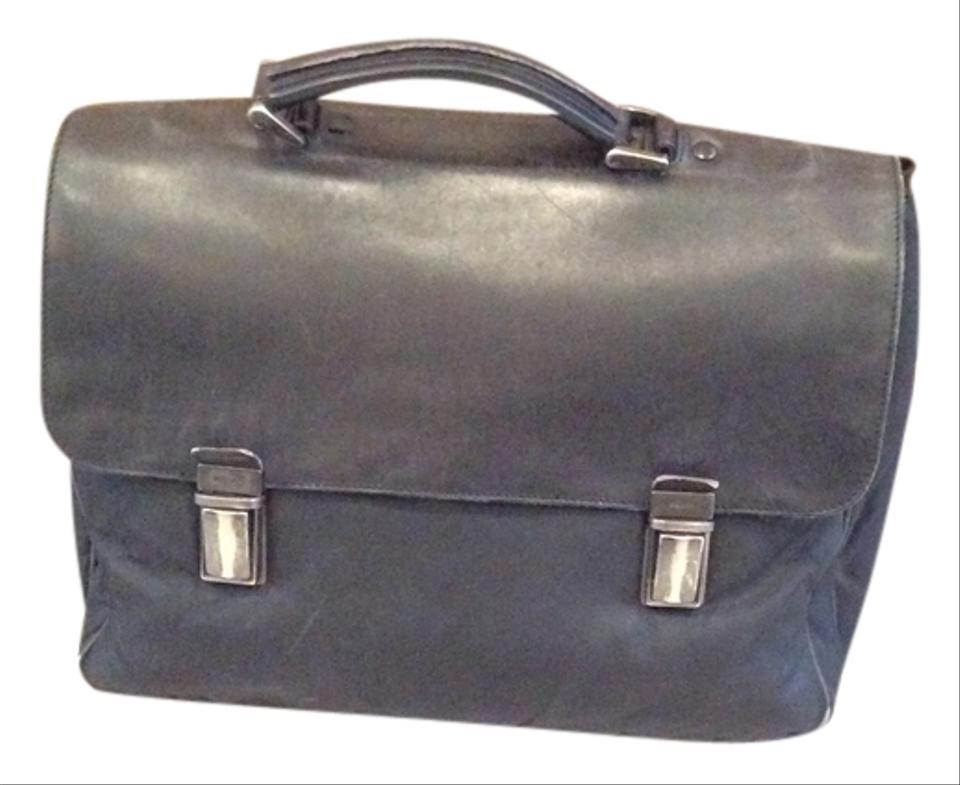 47aba936edd1 Prada Saffiano Briefcase Attache Black Leather and Nylon Messenger ...